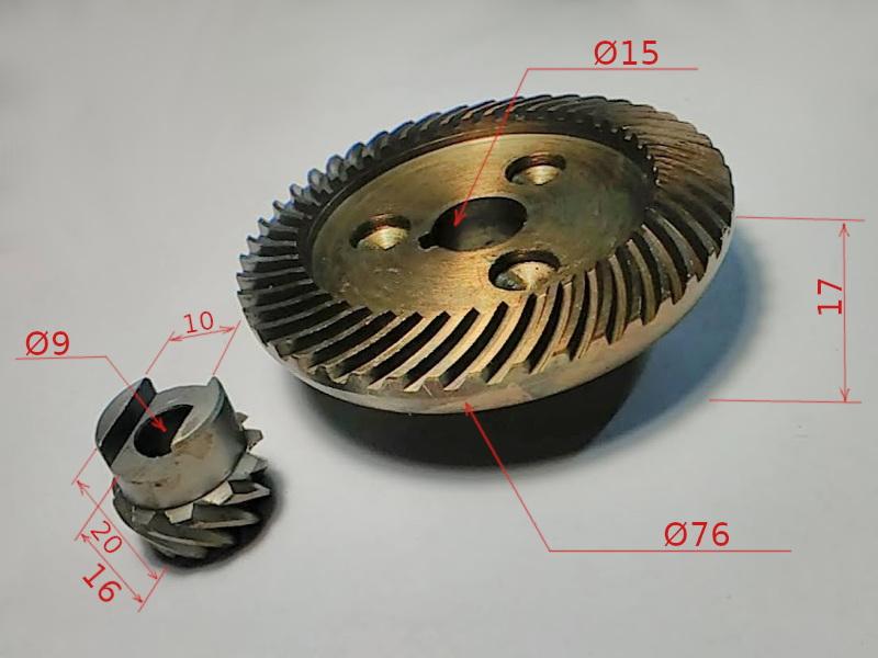 Шестерни редуктора болгарки Темп 230 2,5 KW, DWT WS-230 DL