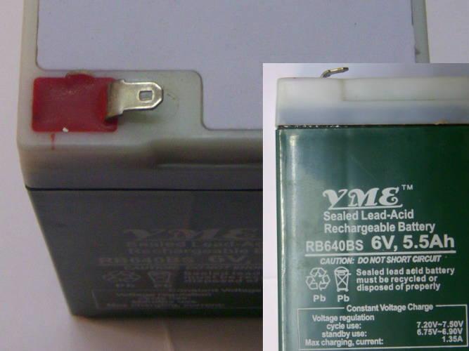 Аккумулятор 6V 5,5Ah размером 98 x 65 x 40 мм