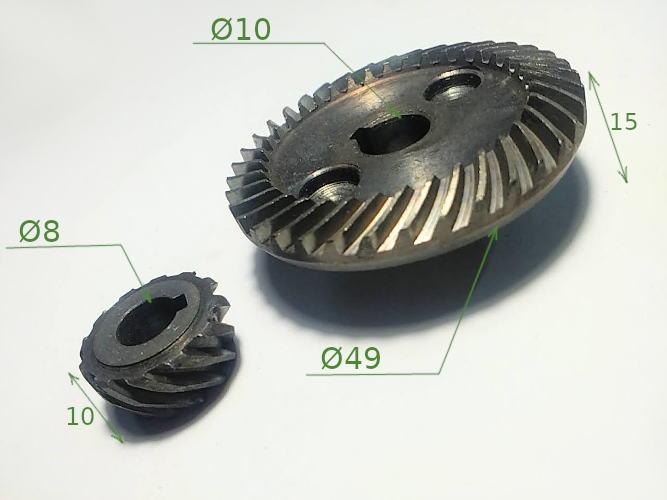 Шестерни для болгарки ТЕМП 125-0,85кВт, Зенит ЗУШ-125/1000 Профи
