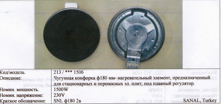 Чугунная конфорка 1500Вт d180 мм под плавный регулятор электроплиты