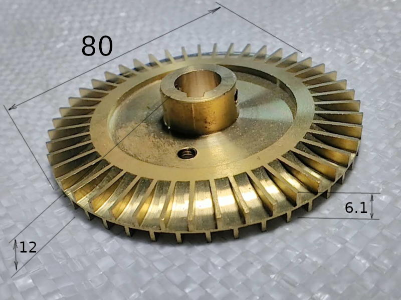 Латунная крыльчатка 80*12 вихревого насоса SPECK, Euroaqua, Omnigena WZ 750
