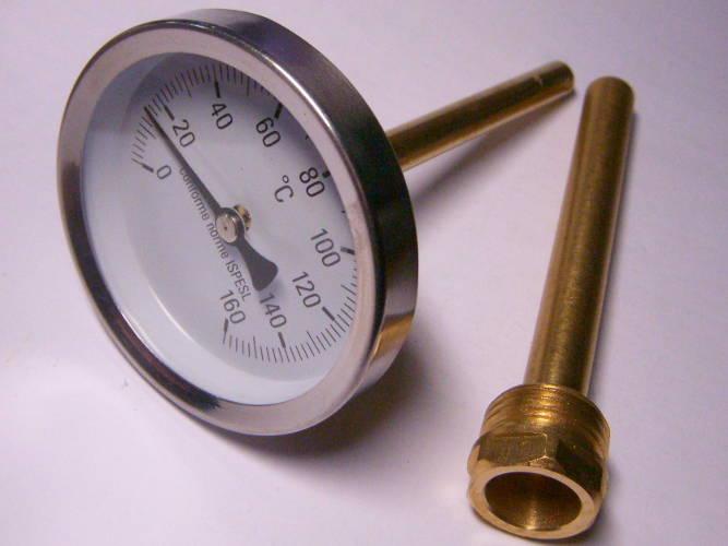 Термометр до 160°C для системы отопления на штоке 100 мм