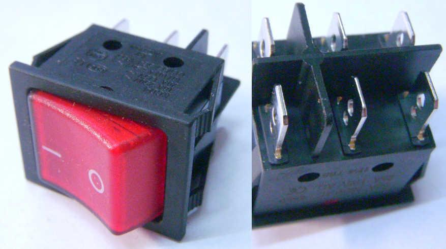 Кнопка включения выключения 20А-250В, 25А-125В на шесть контактов