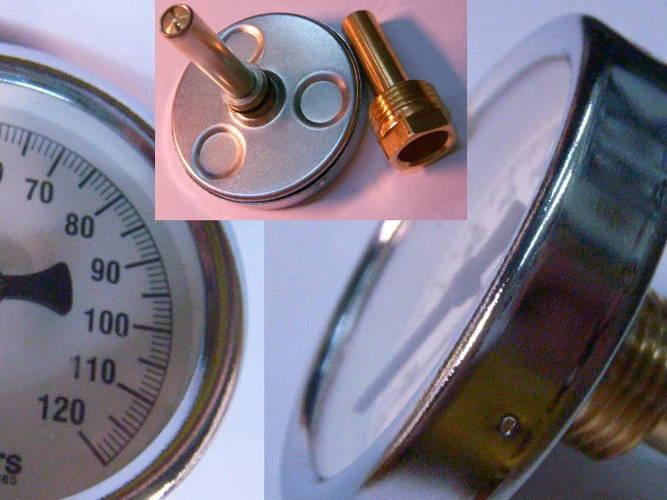 Термометр для котлов отопления до 120°C на штоке 54 мм