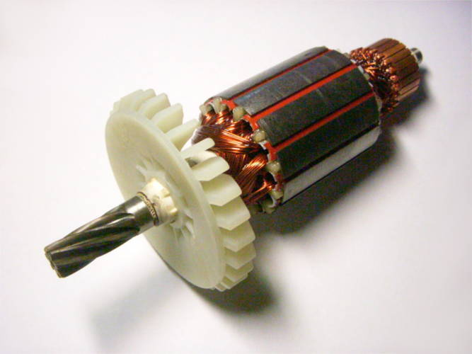 Якорь двигателя садового электротриммера Зенит ЗТС-1600