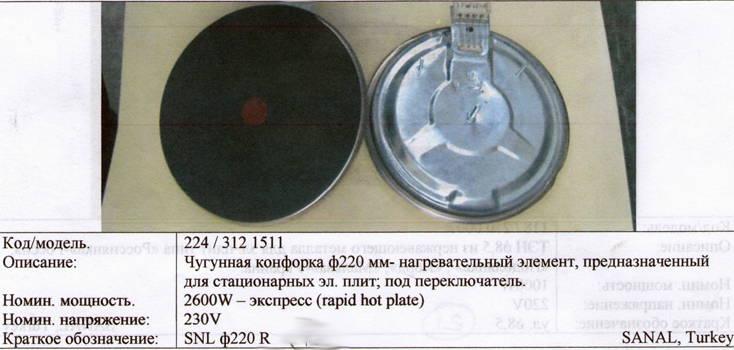 Чугунная конфорка ∅220 мм 2600 Вт под переключатель Турция