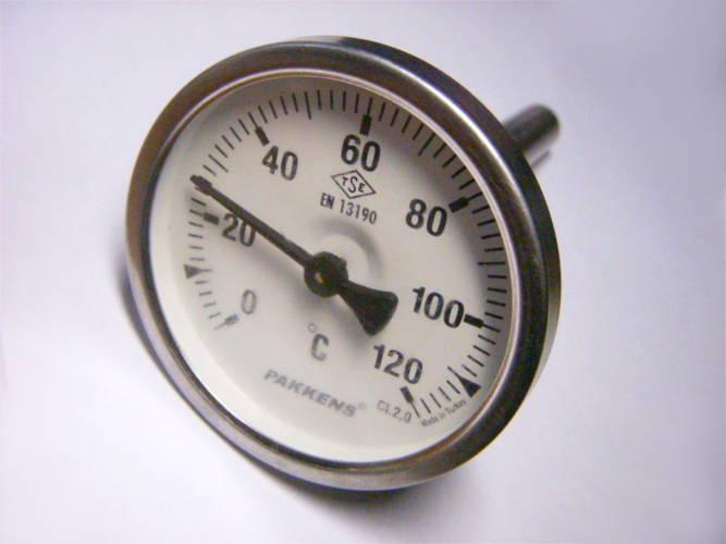 Термометр Pakkens 120°C для отопительной системы на штоке 100 мм