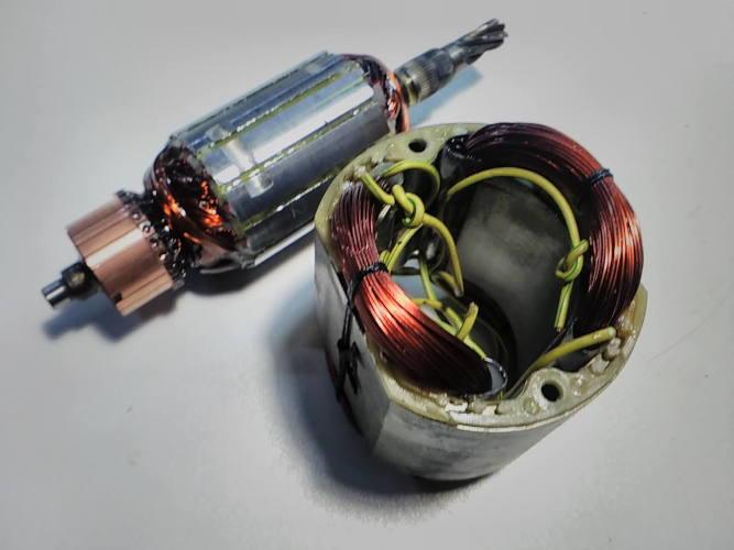 Ремонт электродвигателя 42.5*169 d72*44-L50 циркулярной пилы Зенит Einhell