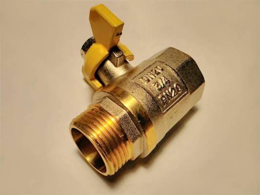 Газовый латунный кран DN20 3/4 PN20 гайка-штуцер