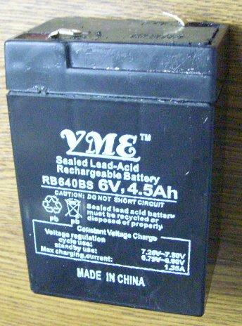 Свинцово-кслотный аккумулятор YME RB640BS 6v 4.5Ah для бытовой техники