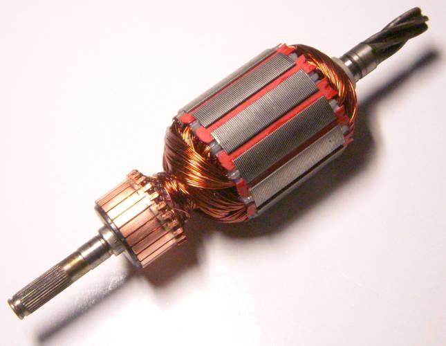 Якорь двигателя 163 мм для садовой электрокосы на пять косых зубов