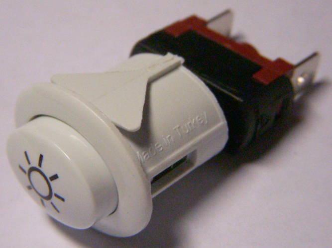 Белая кнопка подсветки газовой плиты с фиксатором