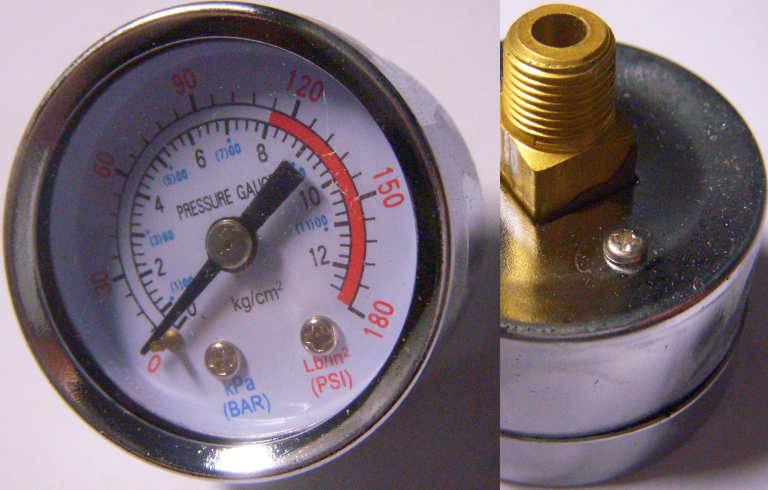 Манометр для компрессора до 180 KPa с резьбой 10 мм