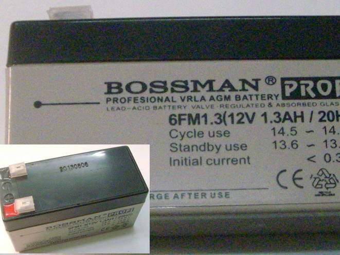 Портативный аккумулятор Bossman 12 V 1.3Ah для бесперебойника