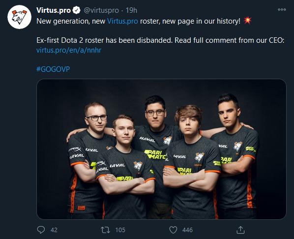 Virtus.pro propouští hlavní tým, nahradí je béčko