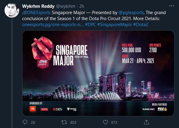 První Major roku se uskuteční v Singapuru
