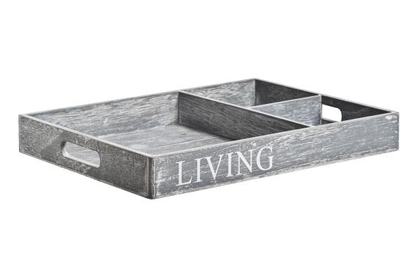 plateau living grijs hout 40x30x5cmwhite wash