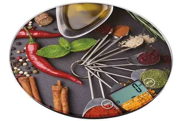 keukenweegschaal d18.5cm rond 5kg-1gr 3vlcd display - foto kruiden