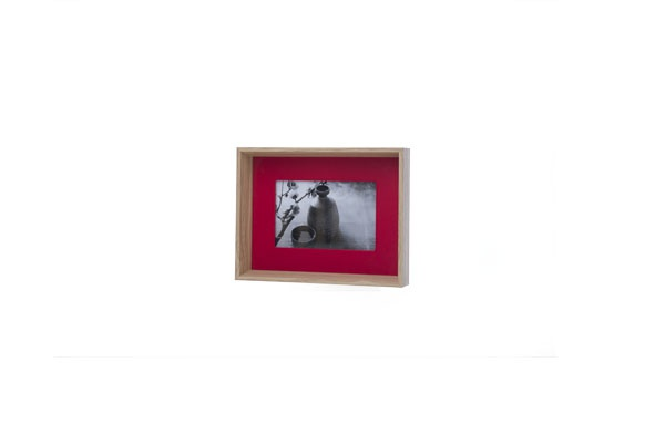 fotokader  rood rechthoek hout 18x4xh23