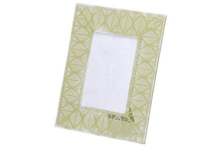 fotokader leaf groen 24,5x1xh19,5cm metaal foto 10x15cm