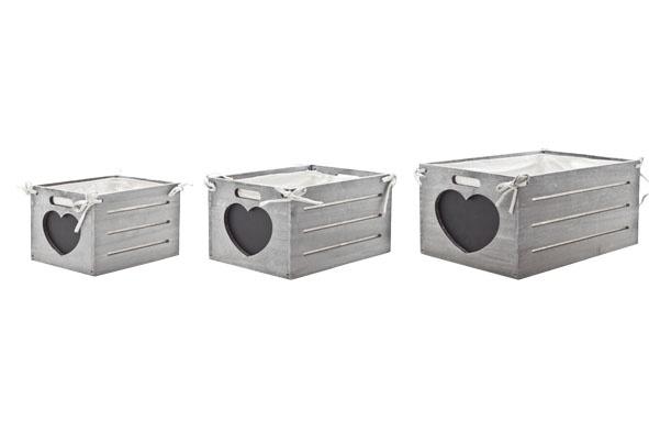 heart bakje met textiel set3 grijs hout38x28xh19cm + 32x25x17cm + 26x19x16cm