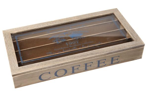 koffiedoos met tekst cafe 34.5x17.5xh5cmhout
