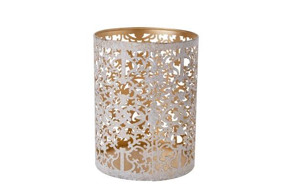 thee-lichthouder d13xh10cm goud witwash