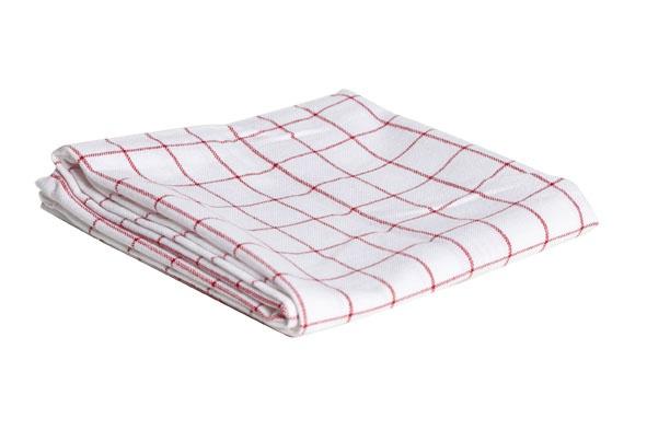 keukenhanddoek grove  ruit rood-wit100 katoen 72x50cm-72gr/m²