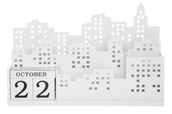 brieven-magazine houder m.kalender 2onderverd. wit 30x11xh19cm hout