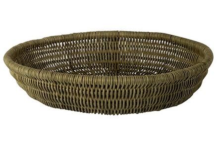 schaal olijfgroen 38x38xh8cm riet
