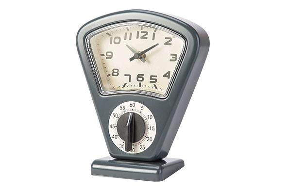 timer en uurwerk grijs 17,5x10xh21cmvorm weegschaal