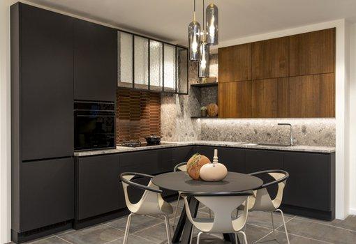 cuisine moderne sans poignées noir model design