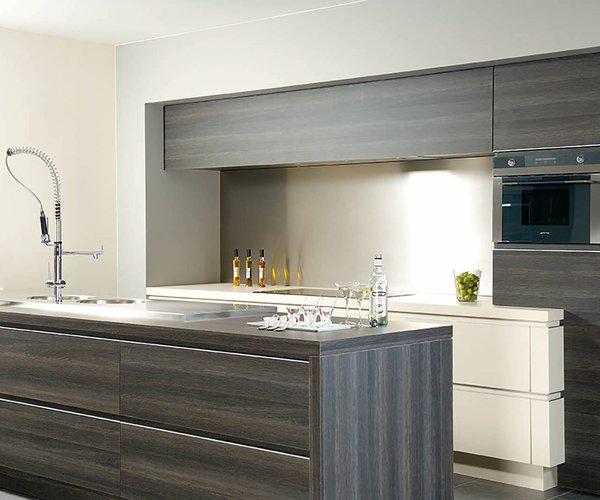 Cuisine moderne en texture du bois - Modèle Alupro