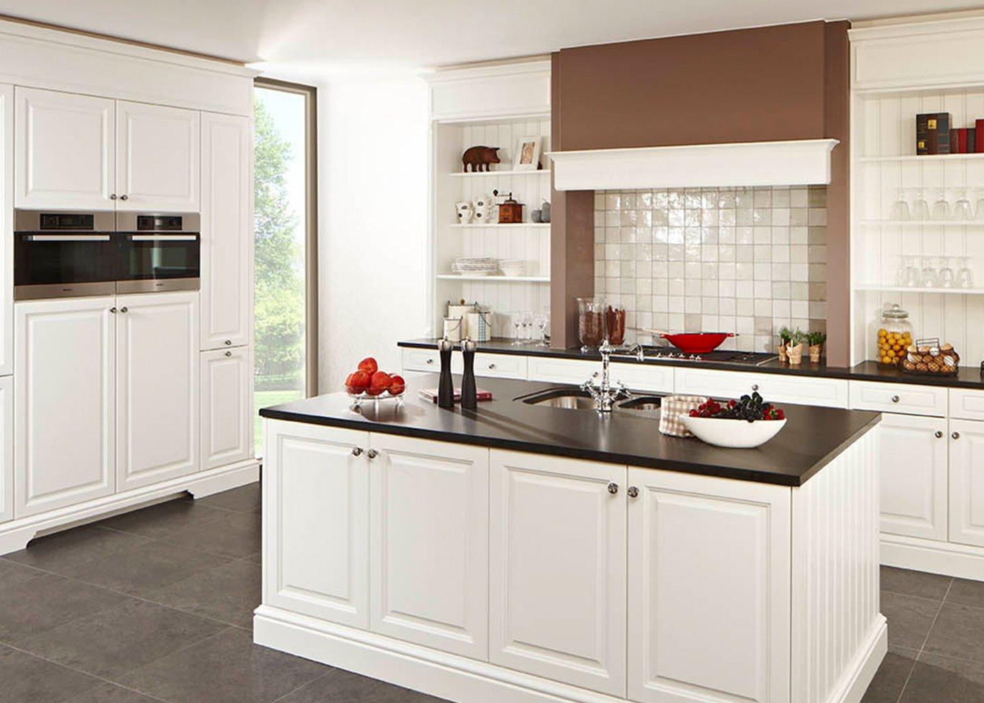 Witte geborstelde eiken keuken - Model Cottage