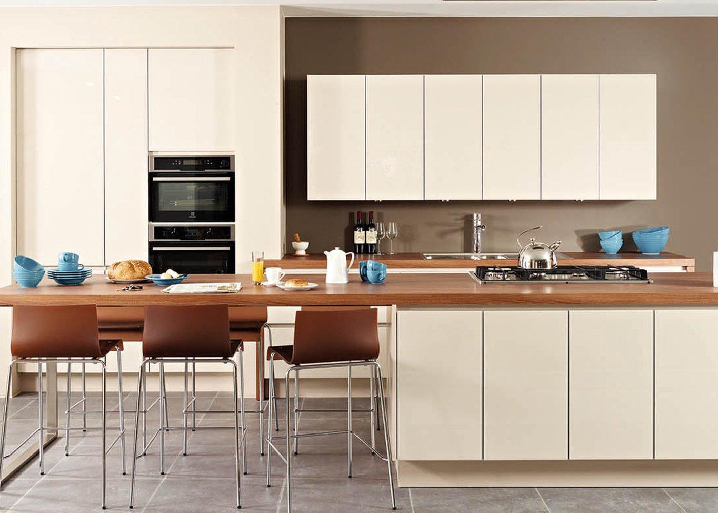 Moderne beige keuken in glas - Model Sirius