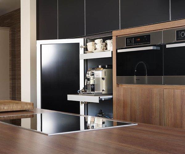 Cuisine moderne noire en verre - Modèle Sirius - Armoire à tiroirs coulissants