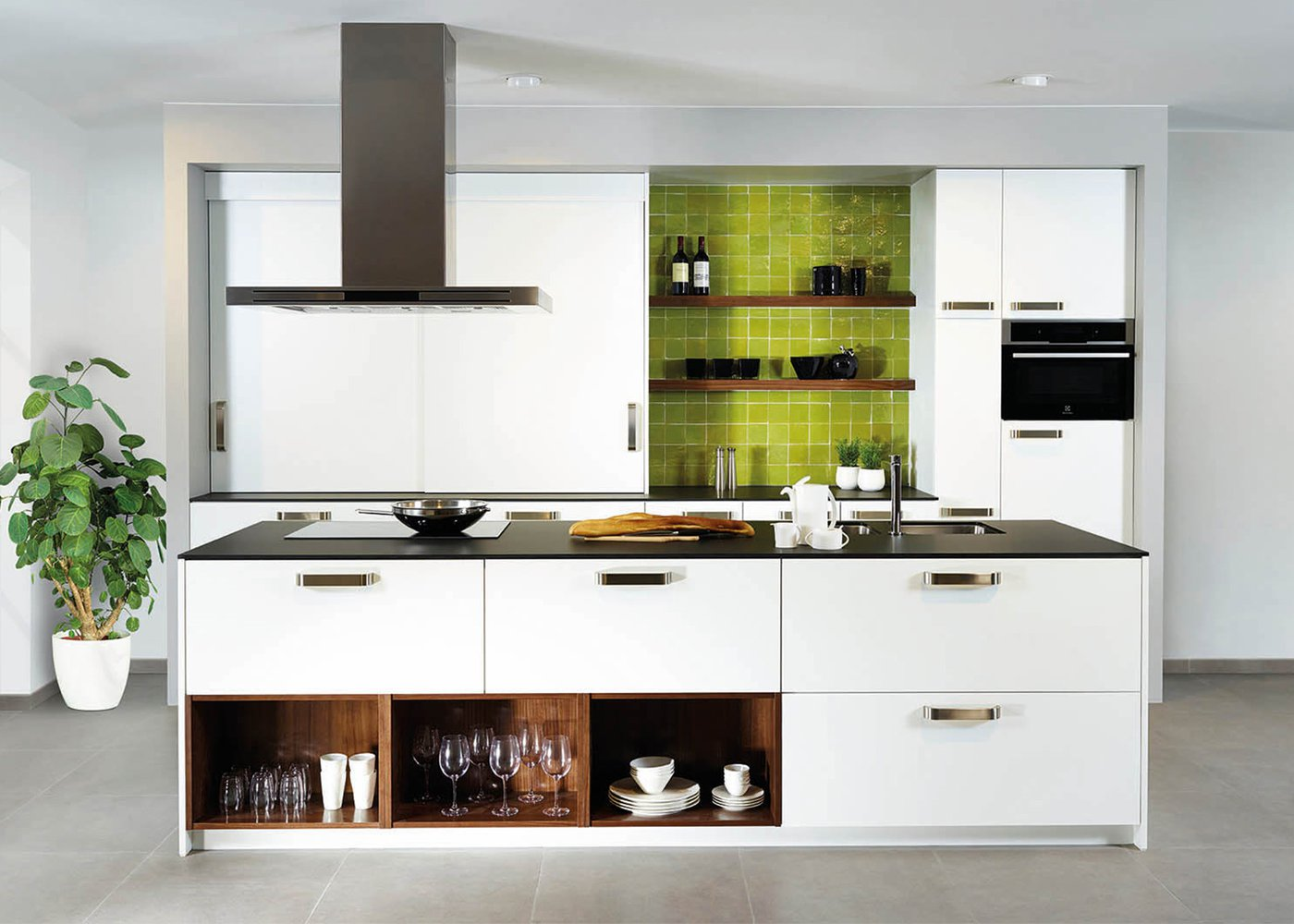 Moderne witte keuken in frontlaminaat - Model Toronto