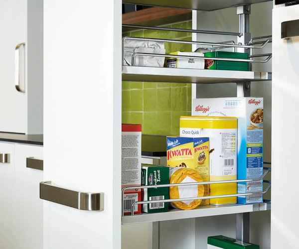 Moderne witte keuken in frontlaminaat - Model Toronto - Uittrekbare apothekerskast