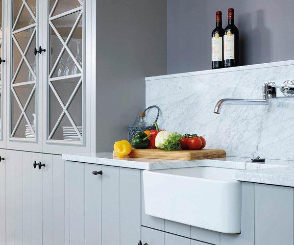 Landelijke, mat gelakte keuken - Model Geneve - Perfect ingewerkte spoelbak