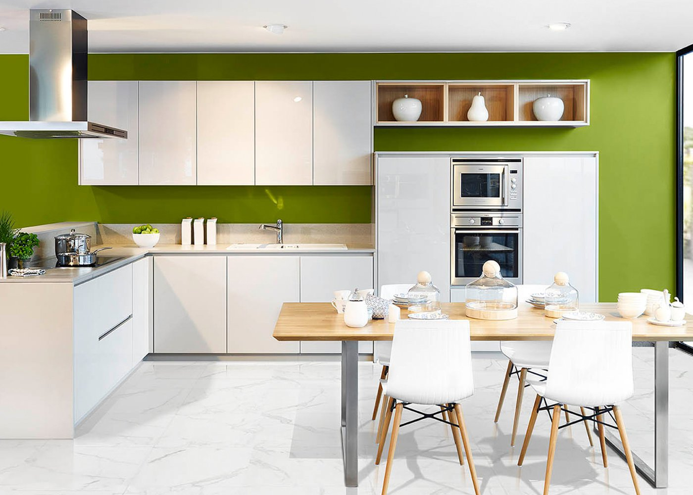 Moderne witte keuken in gelakt glas - Model Sirius