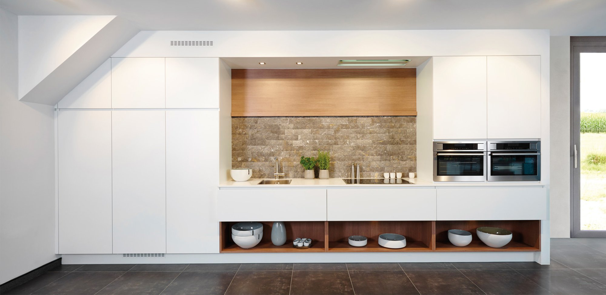 Witte moderne keuken op 1 lijn - Model Design