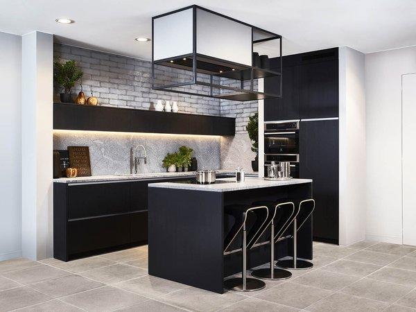 Cuisine moderne noir en placage de bois - Modèle Design