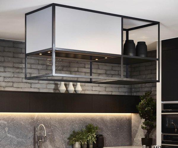 Cuisine moderne noir en placage de bois - Modèle Design - Structure de hotte unique