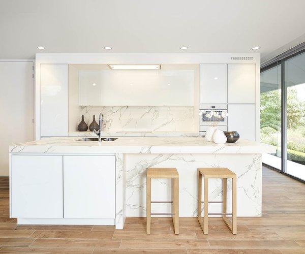 Cuisine blanche moderne en verre laqué - Modèle Sirius