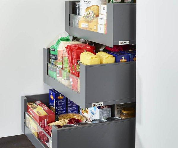 Keuken in roodbruin frontlaminaat - Model Design - Uittrekbare binnenladen