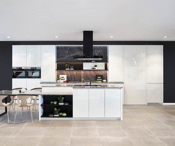 Cuisine moderne blanche en stratifié plein front brillant - Modèle Design
