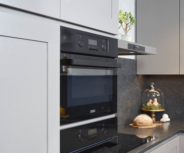 Landelijke L-keuken - Model New York-Design - Apparaten binnen handbereik