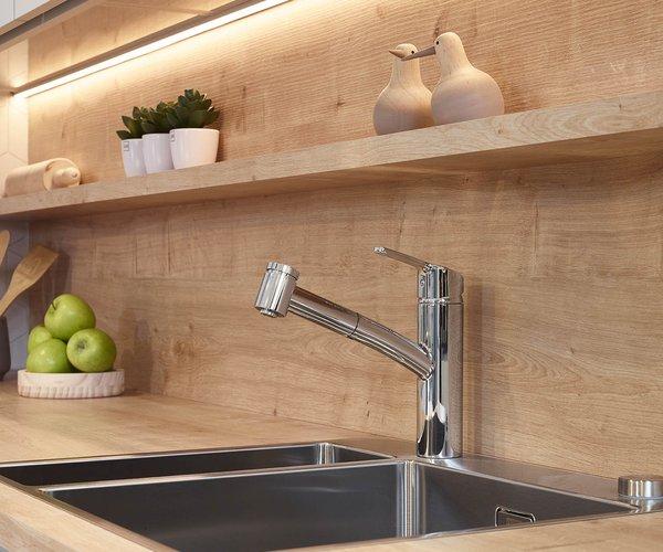Moderne L-keuken - Model Design - Laminaat in houtstructuur
