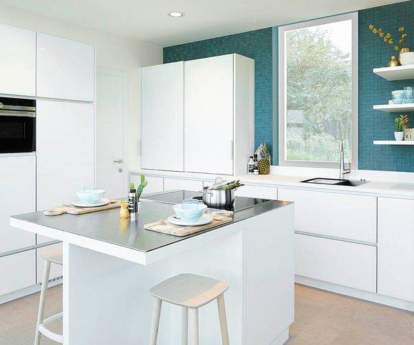 Witte keuken in glas - Model Sirius
