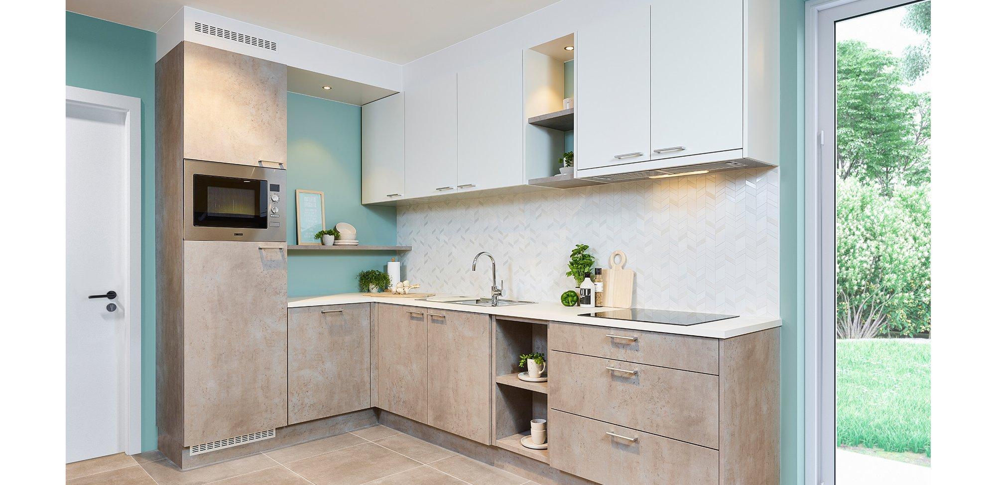 Moderne keuken in betonlook - Model Toronto